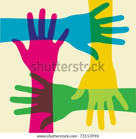 colorful hands illustration over a light background. - stock photo