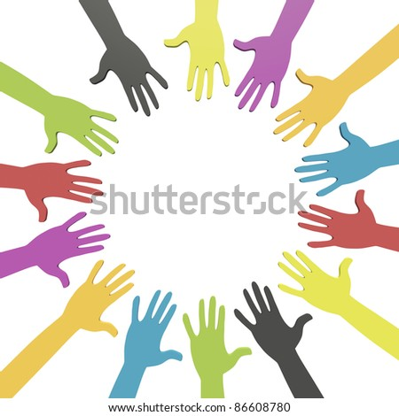 Colorful hands in a circle with clipping path - stock photo
