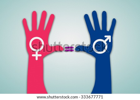 Colorful Hands with Male and Female Symbol, Gender Equality, Human Rights - stock photo