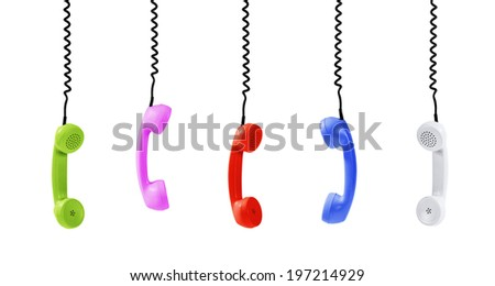 Colorful handsets isolated on white -Clipping Path - stock photo