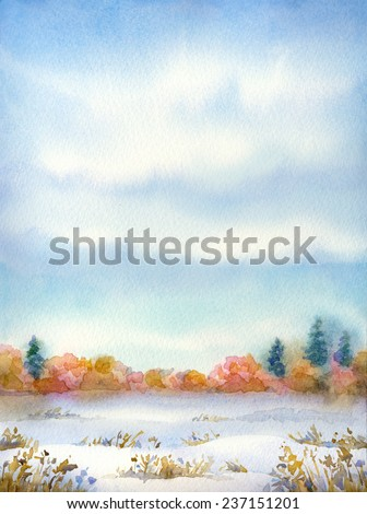 "Colorful handwork drawing on paper backdrop with space for text. Series ""Different seasons"". Gray clouds on overcast day over snow-covered valley with dry bushes and thickets with firs on horizon"