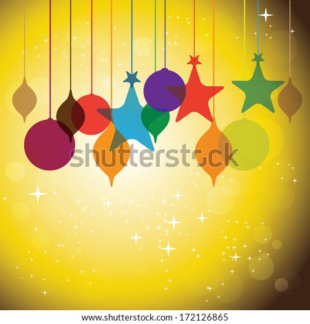 colorful hanging baubles on orange yellow background - concept illustration. This graphic can represent festivals like christmas or xmas, new year, birthday & wedding events, valentine's day, etc