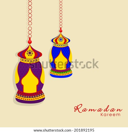 Colorful hanging lanterns on beige background for holy month of muslim community Ramadan Kareem.