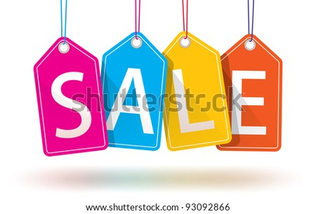 Colorful Hanging Sales Tags.  Isolated with optional ground shadows. - stock photo