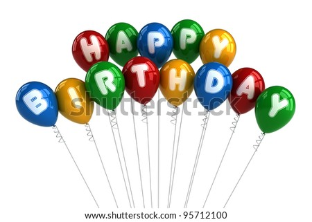 Colorful happy birthday balloons over white background - stock photo