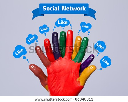 Colorful happy finger smileys with social network sign and like bubbles - stock photo