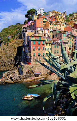 Colorful harbor at Riomaggiore, Cinque Terre, Italy - stock photo