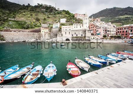 Colorful harbor at Vernazza, Cinque Terre, Italy - stock photo