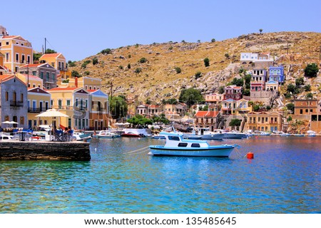 Colorful harbor of the Greek village of Symi