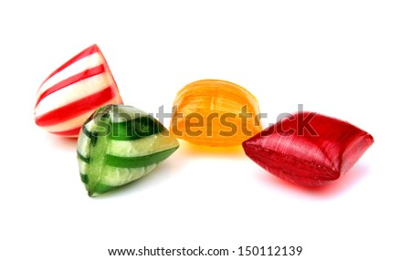 Colorful hard candies isolated on white background - stock photo
