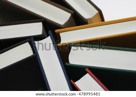 colorful hardback books seen from above