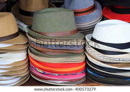 colorful hat in the Asia market
