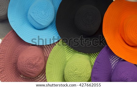 Colorful hats in a shop
