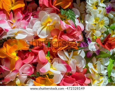 Colorful Hawaiian lei flowers.