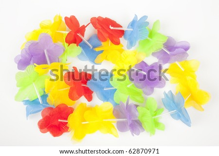 Colorful Hawaiian lei Isolated on White Background - stock photo