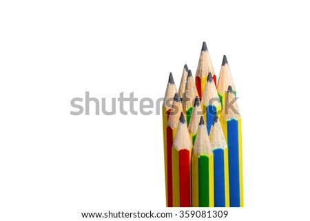 Colorful hb pencils against stackable. - stock photo