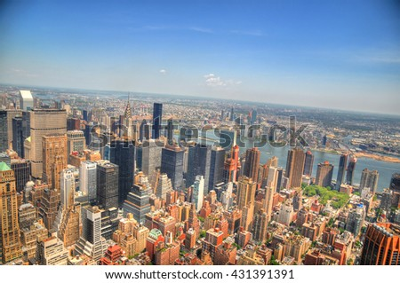 Colorful HDR image of the north east side in midtown Manhattan, New York City, USA in spring 2016 - stock photo