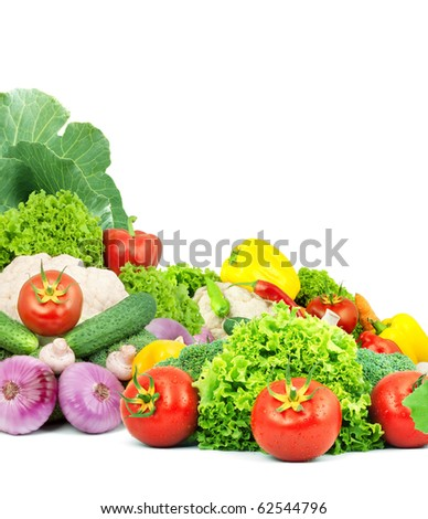 Colorful healthy fresh fruits and vegetables. Shot in a studio - stock photo