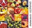 colorful healthy fruit collage - stock photo