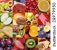 colorful healthy fruit collage made from sixteen photographs - stock photo