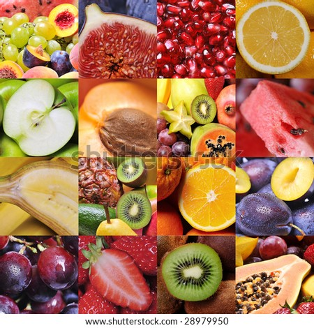 colorful healthy fruit collage made from sixteen photographs
