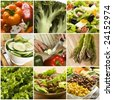 colorful healthy vegetables collage made from nine photographs - stock photo