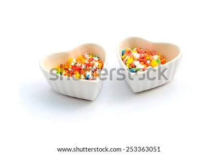 Colorful Heart and Star Cake Sprinkles and Cup 2 - stock photo