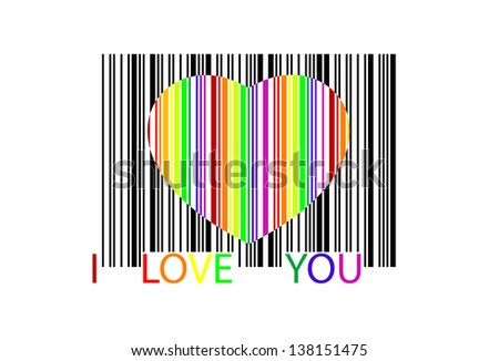 colorful heart bar code, perfect for sale - stock photo
