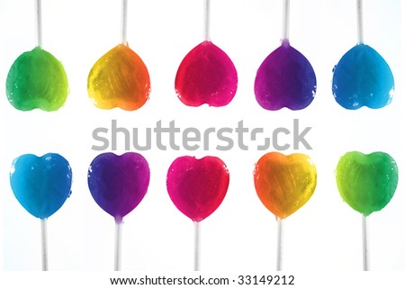 colorful heart candy - stock photo