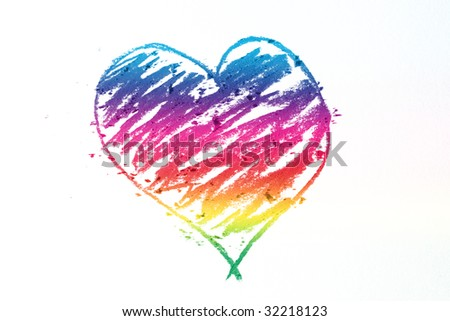 colorful heart doodle - stock photo