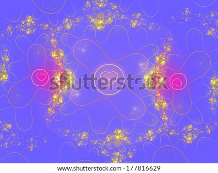 colorful heart pattern on blue - stock photo