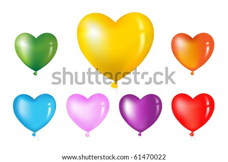 Colorful Heart Shape Balloons. Isolated on white. - stock photo