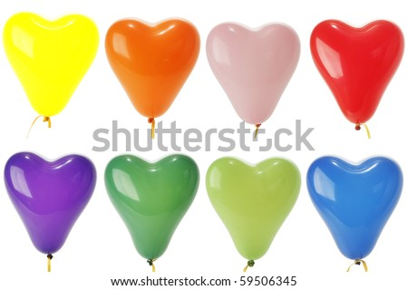 Colorful Heart Shape Balloons, Yellow, Red,Orange,blue,green,pink,purple,blue, Isolated on white. - stock photo