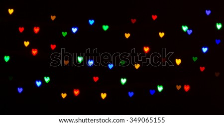 colorful heart-shaped bokeh background
