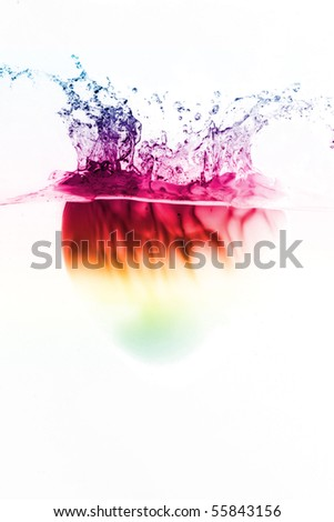colorful hearth shape splash underwater isolated - stock photo