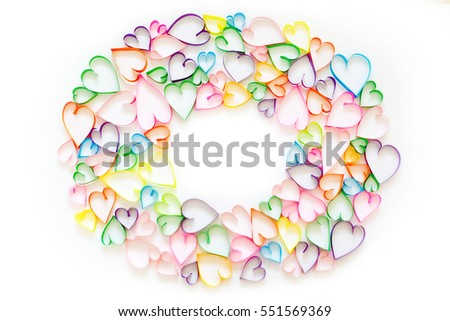 Colorful hearts on white background. Postcard with hearts.