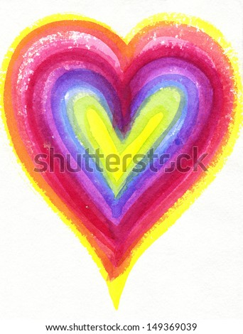 Two Painted Colorful Hands Forming Heart Stock Photo