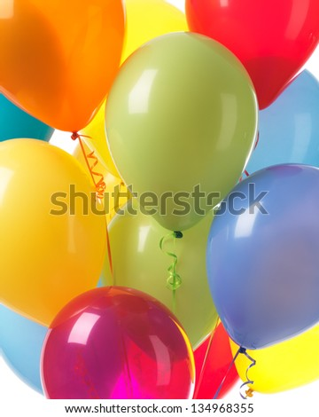 Colorful helium balloons abstract holiday party background - stock photo