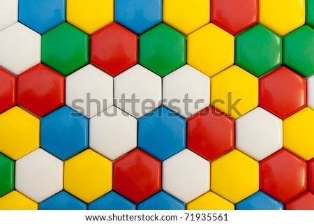 colorful hexagonal mosaic with different colors - stock photo