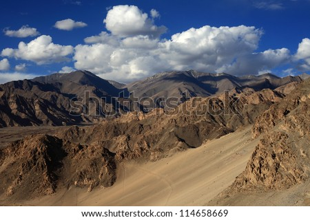 Colorful Himalayan mountains in Ladakh, India - stock photo