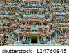 Colorful Hindu temple, Meenakshi Temple, Madurai, Tamil Nadu, India - stock photo