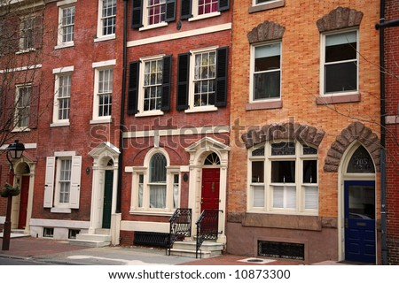 colorful historical houses in Philadelphia, Pennsylvania - stock photo