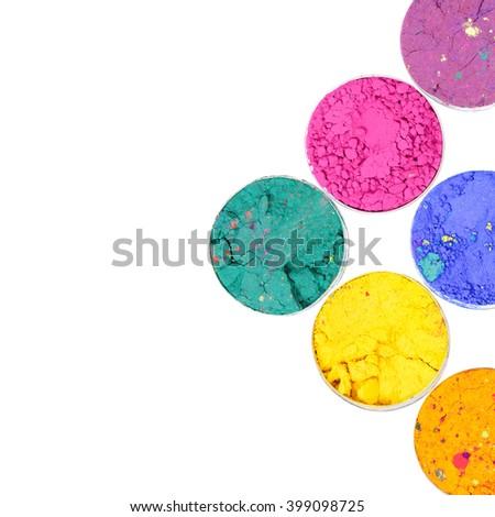 Colorful Holi festival colors isolated on white background  - stock photo
