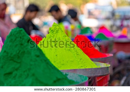 Colorful holy powders on Orcha market, India - stock photo