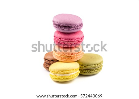 Colorful homemade macaroons on a white background