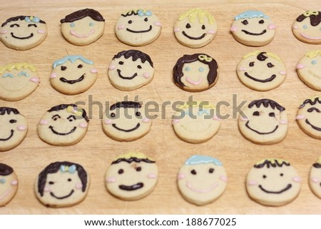 colorful homemade sugar cookie faces