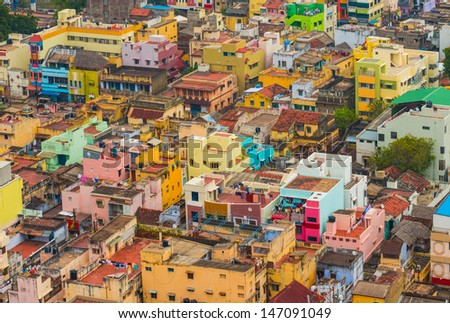 Colorful homes  Indian city Trichy, Tamil Nadu - stock photo