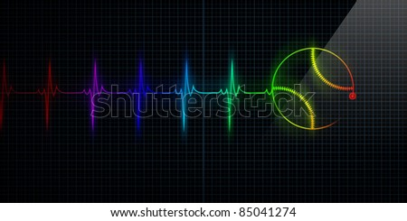 Colorful Horizontal Pulse Trace Heart Monitor with a baseball in line. Concept for sports medicine, baseball players, or die-hard baseball fans. - stock photo