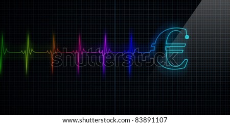 Colorful Horizontal Pulse Trace Heart Monitor with a Euro symbol in line. - stock photo