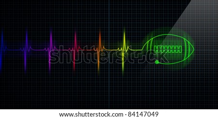 Colorful Horizontal Pulse Trace Heart Monitor with a football in line. - stock photo